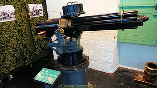 Gattling Machine gun inside the Explosion Museum, one of the attractions at the Portsmouth Historic Dockyard in September 2017, Gosport, Hampshire, England.