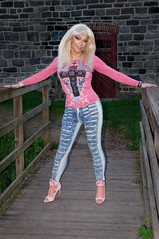 Pink Barbie look (Juliapanther Over 48 million views, thanks!!!) Tags: tgirl tg julia panther juliapanther posing jeans pink top high heels model denim tight blond hoops nails legs long portrait makeup barbie blonde lips makeover pinup diva true colors artistry amanda richards