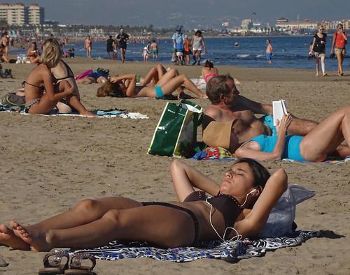 Las Arenas sunbathers