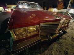 I Call that a Bargain... (RZ68) Tags: 1980 cadillac seville car 400 bucks cheap beater runs good needs tlc tenderlovingcare red burgandy old street night lg lgg6 longexposure