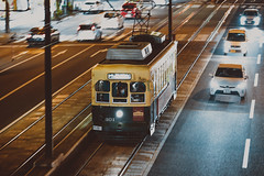 NAGADEN Type 300_301 (hans-johnson) Tags: nagasaki electric tram tramway way street streetcar night kyushu japan nihon nippon jp asia asian hitachi transit transport transportation traffic city urban rail railway train rollingstock moving auto light metro metropolis metropolitan gren yellow canon eos 5d 5d3 5diii 70200mm vsco lightroom lr dslr capture pan railscape hdr vscofilm vscocam 長崎 路面電車 長電 トラム 九州 市電 路電 電車 densha f28