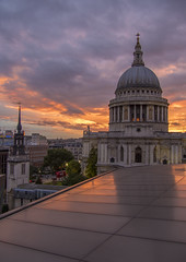 St Paul's Cathedral London (Wizard CG) Tags: uk london one new change rooftop view terrace handrail balcony landmark vista jean nouvel st pauls cathedral architecture building united kingdom great britain gb england europe sunset sky olympus epl7 ngc worldtrekker
