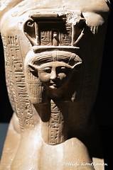 Hathor (konde) Tags: 19thdynasty ramsesii ameneminet blockstatue hathor sistrum goddess hieroglyphs limestone newkingdom luxormuseum deirelbahri ancientegypt statue hieroglyfejä cartouche