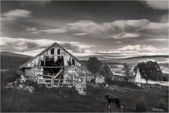 Dilapidated Shed BW_1031 (Cabrach) (The Terry Eve Archive) Tags: cabrach tornichelt farm derelict abandoned dilapidated ruin wrecked damaged shed barn bordercollie sheepdog
