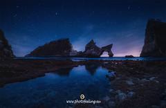 Last lights in Atuh beach (joana dueñas) Tags: atuhbeach pacificocean indonesia nusapedina rockycoast coralsbeach stars reflexes water rocks joanadueñas photofeeling seascape