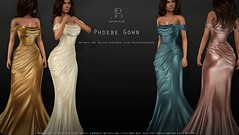 NEW! Just Because Phoebe Gown - Mainstore Release (Just BECAUSE_SL) Tags: sl secondlife sexy just because jb gown mesh cleavage formal cocktail ballroom wedding bridesmaid bride metallic shiny satin greek wrap dress maitreya slink belleza mainstore long off shoulder draped