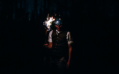 (Steven Sites) Tags: canon eos 5d mark iii sigma 50mm f14 man boy guy portrait purge halloween friday 13th horror scary creepy night dark fire flame torch dress clothes mask usa us america flag