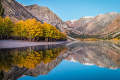 Lundy Morning Reflections (Kirk Lougheed) Tags: california easternsierra lundycanyon lundylake monocounty sierranevada sierras usa unitedstates aspen autumn dawn fall lake landscape outdoor reflection reservoir sunrise tree water