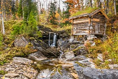 Old watermill in Hattfjelldalen (Einar Schioth) Tags: watermill water waterfall trees tree house river rocks rock day sky canon clouds cloud vividstriking nationalgeographic ngc norway norge nature nordland hattfjelldal landscape photo picture outdoor sigma sigma2470 einarschioth