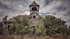 the mind is a terrible thing to waste... (BillsExplorations) Tags: abandoned abandonedillinois school schoolhouse oldschool ruraldecay rural ruralschool education old sky clouds field elmira decay forgotten neglect discarded shuttered foliage classic waste