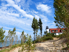 Pure Michigan (JamesEyeViewPhotography) Tags: lake michigan northernmichigan lighthouse trees sky autumn clouds beach lakemichigan landscape water jameseyeviewphotography