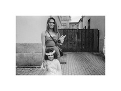 Two princesses (Jan Dobrovsky) Tags: biogon21mm comunity people roma wedding film outdoor krásnálípa monochrome grain girls leicam6 kodaktrix400t blackandwhite northernbohemia gypsies social analog document street
