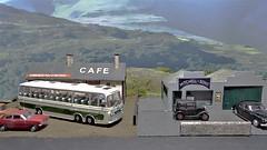 Horton Pass Cafe. (ManOfYorkshire) Tags: westriding bedfordval coach bus cars hortonpass cafe vauxhallviva austin7 rover hillmanimp scale model diorama corgi ooc oxforddiecast diecast 176 moors
