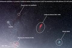 C2017 O1 California Pleiads_Caption (achrntatrps) Tags: nightshot d5300 nikon photographe photographer alexandredellolivo dellolivo lachauxdefonds suisse nuit night nacht achrntatrps achrnt atrps radon200226 radon etoiles stars sterne estrellas stelle astronomie astronomy nicht noche notte nikkorafs200400mmf4 suivi astrophotographie eosforastro astrotrac320x cygnus cygne hiiregion halpha californianebula nébuleusedelacalifornie nébuleusecalifornie ngc1499 pleiads pléiades plejaden sevensisters subaru cometc2017o1asassn1 comète atlantiden atlantiaden messier45 siebengestirn taube siebenschwestern gluckhenne m45 ngc1893 flamingstarnebula nébuleusedelétoileflamboyante capella