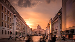 Let's call it a day (reneschaedler) Tags: beautiful city vatican vatkan pabst papa roma rom italia italy schaedler rene sunset pope dome dom stpetersbasilica rome motorcicle road street goldenhour golden wow