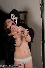 356_5648 (FirstTimeTied.com) Tags: bondage firsttimetiedcom bella amateur handcuffed handcuffs topless rope ballgaged ballgag hogtied hogtie tied up