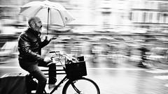 Hurry in the rain (André Felipe Carvalho) Tags: holanda amsterdam preto branco bicicleta bycicle