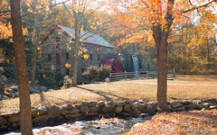 The leaves are leaving - crop (Brian M Hale) Tags: autumn fall leaves foliage leaf stream river outside outdoors sudbury grist mill waterfall water falls architecture old wheel nature newengland new england ma mass massachusetts layers falling brian hale brianhalephoto