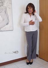 Gray dress trousers, white long-sleeved blouse, patent leather high heels Vol II (Elsa Adriana) Tags: elsaadriana elsa sexylegs mexican legs tgirl travesti transvestite tbabe tv transgender transgenero mature