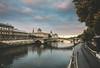 Friday morning (nihilsineDeo) Tags: paris friday morning stroll sunrise blue cloud pink jogging jogger quaideseine france seine river road bridge