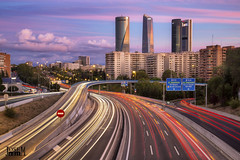 The towers of Madrid (Jose_edit) Tags: autopista blue hour canon eos cityscape color ctba cuatro torres business area hdr high pass highway lights long exposure m30 madrid nigh shot rascacielos skyscraper tonemapped traffic trails veins carretera silueta 6d 17 40