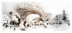 Sévilla - Andalucia - España - Metropol parasol (guymoll) Tags: leparasol séville sevilla espagne españa espanha spain architecture moderne ville ciudad andalousie andalucia crayon croquis sketch pencil