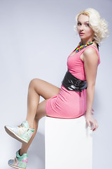 Portrait of Sensual Caucasian Blond Female in Pink Short Dress and Sneakers. Sitting on White Prop. Over White. (DmitryMorgan) Tags: 1 2025years adult attractive beauty blond caucasian clothing colorful cool elegant expressing fashionable female flexibl friendly girl glamour gorgeous happy modern necklace onwhite one pink pinky posing positive positivity pretty sensual sexy shaped single slim sneakers streetfashion studioshot stylish thin trendy twenties woman youthlifestyle