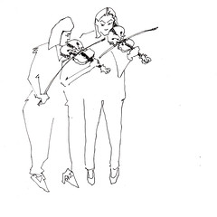 Femmes Au Violon [20170930] (rodneyvdb) Tags: abstracted art blackandwhite bw duet concert contemporary drawing ensemble expression expressionism femme figure figurative illustration inkpen model music paper sketch violin