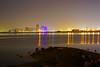 Bahrain by night. Reflections in the gulf (Andrey Sulitskiy) Tags: bahrain muharraq