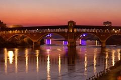 Ponte Coperto with pink sky (arunsebastian.panakal) Tags: pavia lombardy lombardia italia italy ponte coperto river ticino fiume fiumeticino pink lights nightlights eveninglight