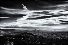 Big Sky, small Hills... (Ody on the mount) Tags: abendlicht anlässe em5ii fototour himmel licht mzuiko918 omd olympus schwäbischealb wald wolken bw clouds light monochrome sw sky