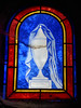 Draped urn - stained glass window (Monceau) Tags: draped urn blue stainedglass window cemetery cimetièredupèrelachaise pèrelachaise