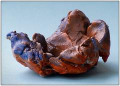 Small Pot (EddieAC) Tags: macromondays souvenir pot paper mache brown blue