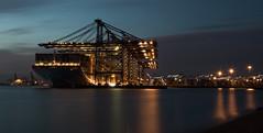 Felixstowe port 24 hours (paullangton) Tags: felixstowe port harbour night ship crane lights reflections glow blue sea seascape suffork canon 7dmk2 long exposure
