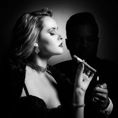 Light me! (realcoolchris1) Tags: backwhite studio cigar retro harshlight chiaroscuro 1940s style carla monaco