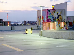 kodakektar120-246 (elsuperbob) Tags: detroit michigan downtowndetroit zdeck streetart graffiti murals art parkingdeck emptyspaces kodak ektar100 kodakektar100 mamiyam645