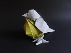 Bird designed by Hideo Komatsu [Hideo Komatsu challenge 42/50] (Orizuka) Tags: origami hideokomatsu hkchallenge bird mulberrypaper marblepaper
