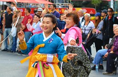 South Korean Folk Dance Ensemble .... Dundas Square .... Toronto, Ontario (Greg's Southern Ontario (catching Up Slowly)) Tags: smilingpeople southkorean southkorea dundassquare torontoist folkdancers women
