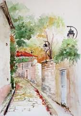 Pour le groupe Défiaqua N°2 sept_oct2017 (geneterre69) Tags: rue aquarelle watercolor lyon maison ruelle lampadaire mur