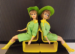 SEEING DOUBLE Part Three (ModBarbieLover) Tags: snapdash 1968 mod fashion americangirl barbie 1965 1967 tnt doll cowgirl green yellow