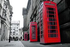 Red Boxes, Eden Place, Birmingham (Manoo Mistry) Tags: nikon nikond5500 tamron tamron18270mmzoomlens birminghampostandmail birmingham birminghamcentral city outdoor architecture telephone redtelephonebox selectivecolour redonblack booth telephonebox kiosk phonebox englishtelephonebox