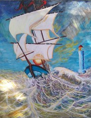 FOR FULL SAIL (tomas491) Tags: seilboat fantasypaintings marinpainting tomasljunggren wave waves sail flag flags acrylic handmade sun lighthouse ship