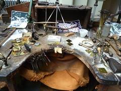 Goldsmith's bench (roger_forster) Tags: workbench goldsmith smithpepper gold birmingham museum museumofthejewelleryquarter jewellry bench gas blowpipe artisan metalwork bullion