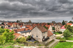 Visby (HDR) (J. Pelz) Tags: church city gotland hdr roofs visby town clouds gotlandslän sweden se