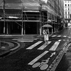 Lyon - Rue Simon Maupin. (Gilles Daligand) Tags: lyon rhone france rue simonmaupin street noiretblanc bw monochrome lignes sol signalétique olympus omdem5