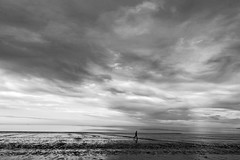 Alone in the world (Daniel Nebreda Lucea) Tags: black white blanco negro landscape paisaje argentina puerto madryn people gente man hombre walking andando beach playa clouds nubes minimalism minimalismo big grande small pequeño alone solo sky cielo water agua sea mar ocean oceano travel viajar composition composicion lights luces shadows canon 60d 1018mm wild salvaje adventure aventura noir monochrome monocromatico latinoamerica america nature naturaleza texture textura natural landscapes paisajes