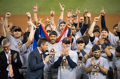 The Astros celebrate with the World Series trophy. (apardavila) Tags: worldseries postseason ajhinch carloscorrea commissionerrobmanfred commissionerstrophy dodgerstadium houstonastros houstonstrong josealtuve mlb majorleaguebaseball worldserieschampions worldseriestrophy baseball sports worldchampions worldchamps