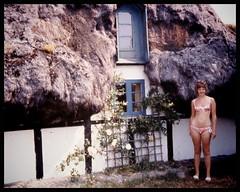 Sunny day at the weird house...in the seventies. (iEagle2) Tags: analog analogfilm analogue colorslide ehefrau female femme frau film denmark bikini woman wife summer seventies minolta