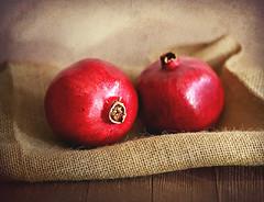 Pomegranates (Through Serena's Lens) Tags: weeklythemechallenge closeup tabletop indoor grenade antioxidants naturallight dof pomegranates red fruit burlap texture stilllife canoneos6dmarkii 7dwf