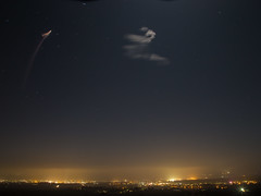 SpaceX Falcon 9 first stage booster (CaptSpaulding) Tags: sky california lompoc color contrast clouds vandenberg afb night exposure rocket missile slc4 spacex falcon9 longexposure centralcoast ef24105mm nightshot space